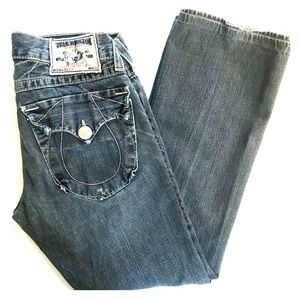 TRUE RELIGION BILLY Med Blue Distressed JEANS 31